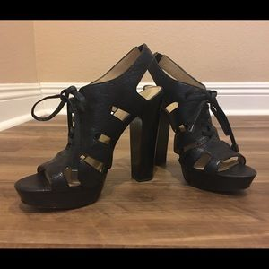 Coach Lace-Up Platform Block Heel Sandals